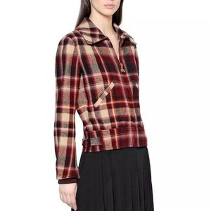 Polo Ralph Lauren Red Plaid Wool Bomber Jacket